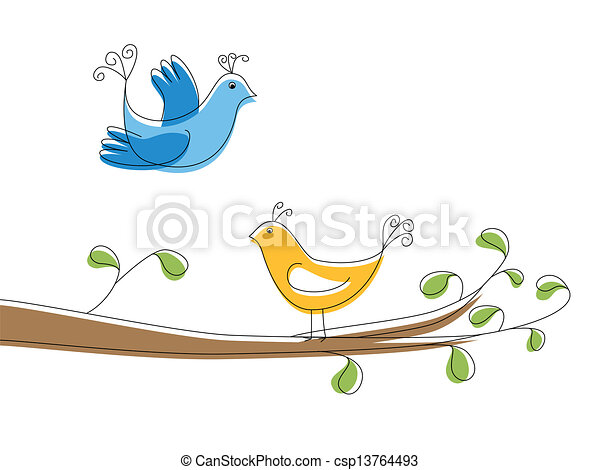 Two birds on the tree branch - csp13764493