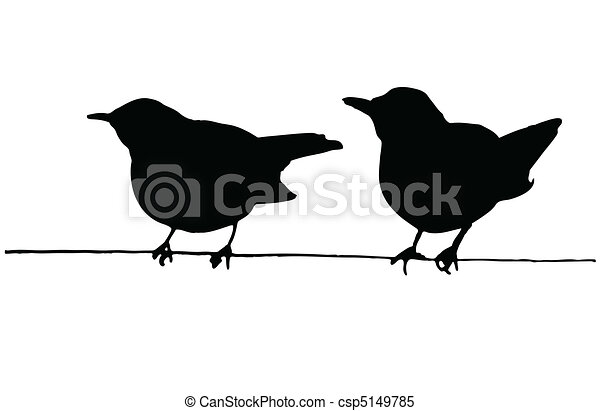 Two birds on the wire vector silhouettes.