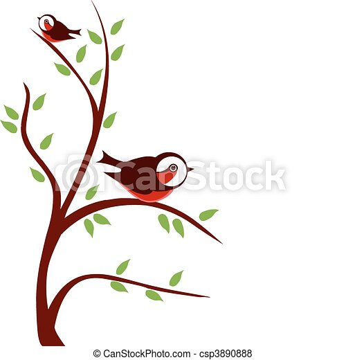 two birds on tree branch with green leafs vector vector search rh canstockphoto com branch vector download branch vector download