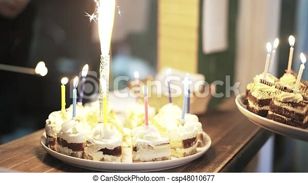 Strange Two Birthday Cakes With Sparklers At Children S Fair Close Up Of Funny Birthday Cards Online Inifodamsfinfo