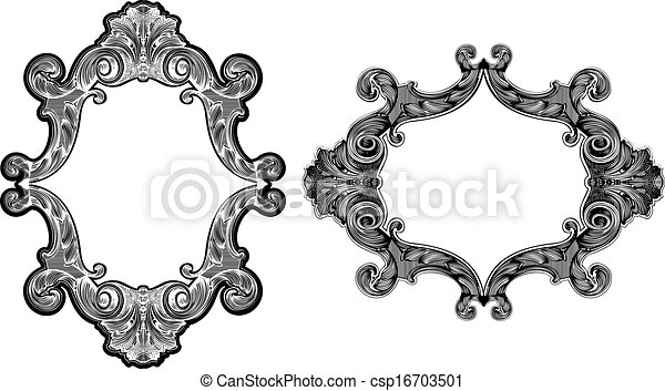 Two black and white baroque art frames.