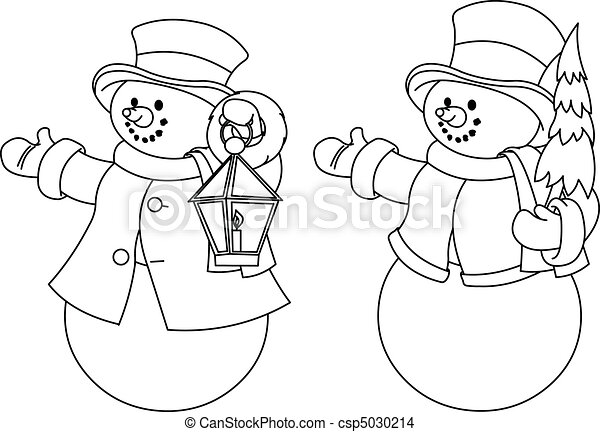 Two black and white snowmen for co - csp5030214