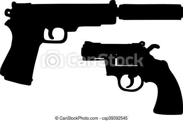 Two black handguns - csp39392545