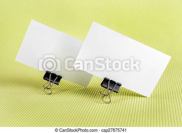 Two blank business card photo of two blank business card with soft two blank business card csp27875741 reheart Gallery