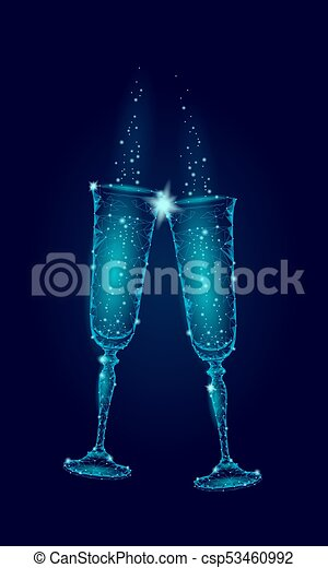 Two Blue Glowing Glasses Champagne Sparkles Happy New Year Valentine Day Greeting Card Concept Romantic Love Couple Date Low Poly Polygonal Modern