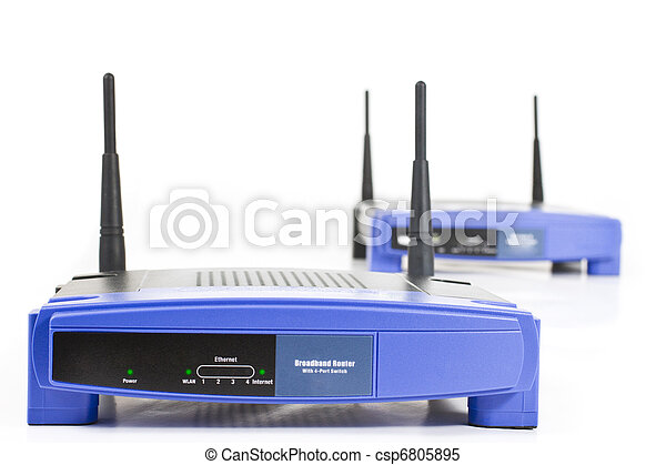 two blue internet router with two antennas - csp6805895