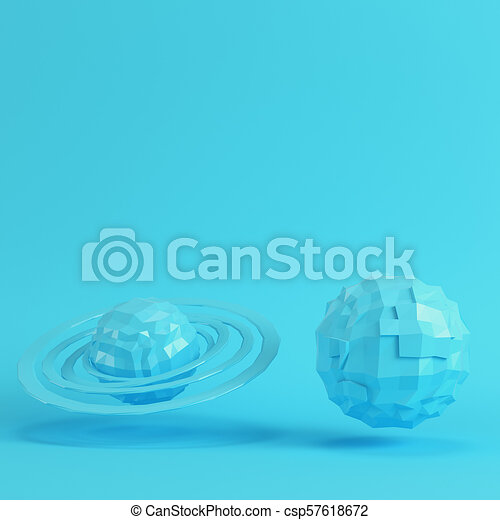 bdcd1d36 Two blue low poly planets on bright blue background in pastel colors -  csp57618672