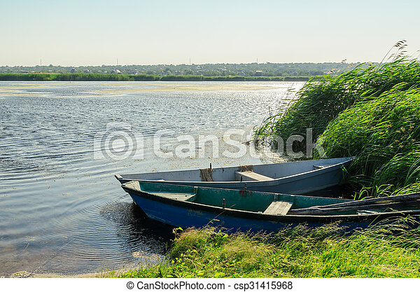 two boats on river - csp31415968