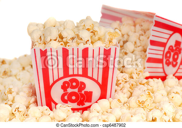 Two boxes of movie popcorn - csp6487902