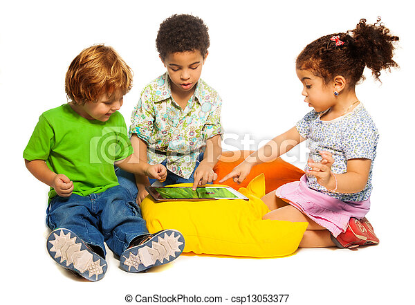 Two boys and girl playing with tablet - csp13053377