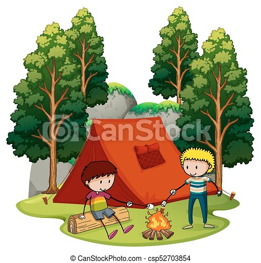 Two Boys Camping Out In The Woods