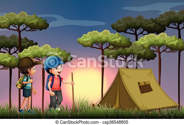 Two Boys Hiking And Camping In The Forest Illustration