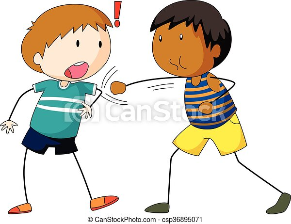 Two boys hitting and punching - csp36895071