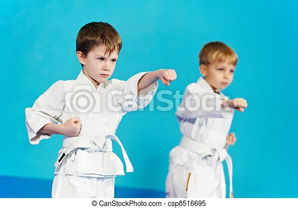two boys make karate exercises - csp8516695