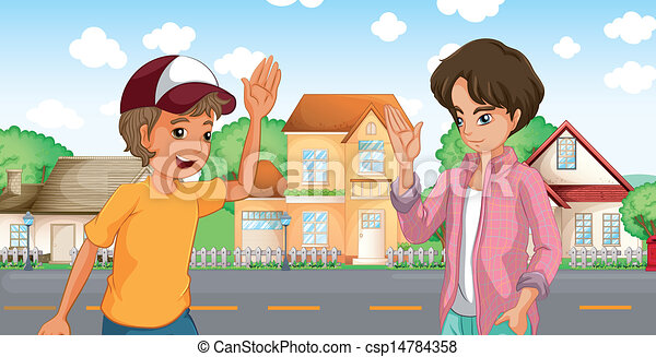 Two boys meeting across the big houses at the road - csp14784358