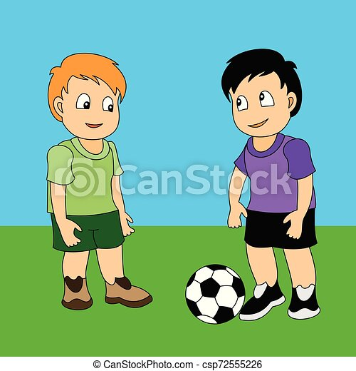 Illustration Of Two Boys Playing Football On A White Background Royalty  Free Cliparts, Vectors, And Stock Illustration. Image 97418770.