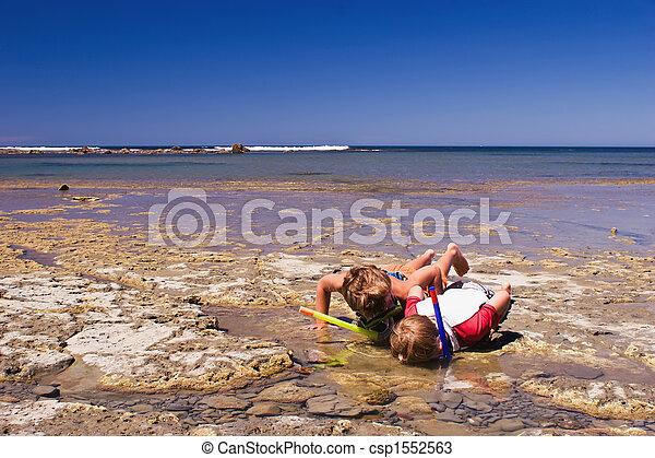 Two boys rock pooling - csp1552563