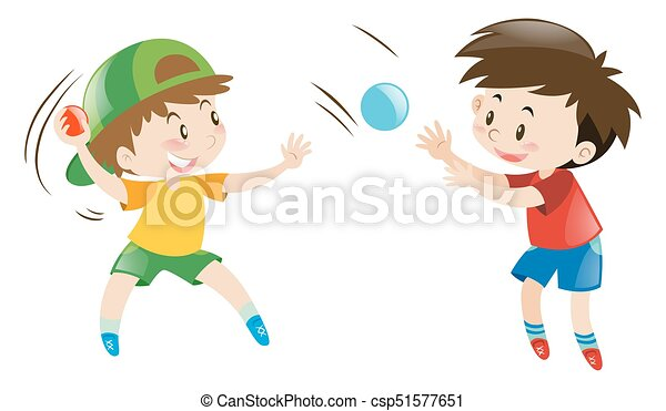 Two Boys Throwing And Catching Balls