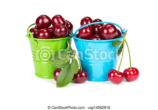Two buckets with cherries - csp14562816