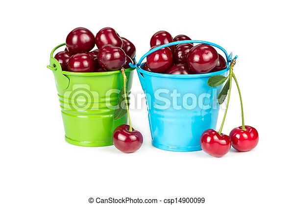 Two buckets with cherries - csp14900099