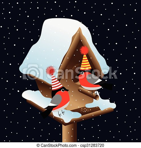 Two bullfinch at the birdhouse on a background of the night sky - csp31283720
