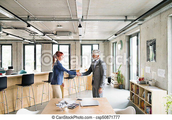 Two business people in the office shaking hands. - csp50871777