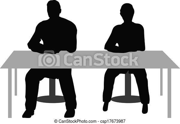 Eps10 Vector Two Business People Sitting A Desk