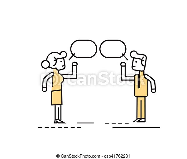 Two business people talking and discussing. - csp41762231
