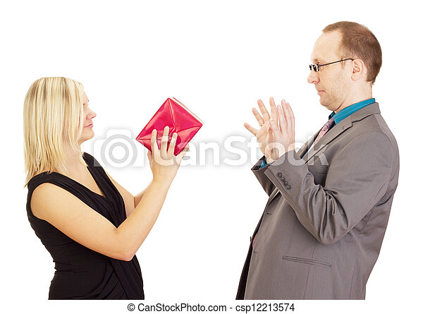 Two business people throwing a gift - csp12213574