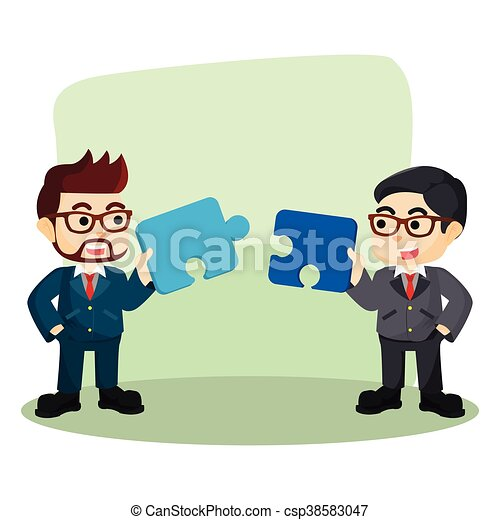 two businessman collaborate to assemble puzzle - csp38583047