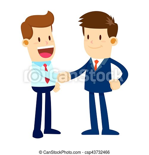 two businessman shaking hands with happy faces vector stock clip rh canstockphoto com
