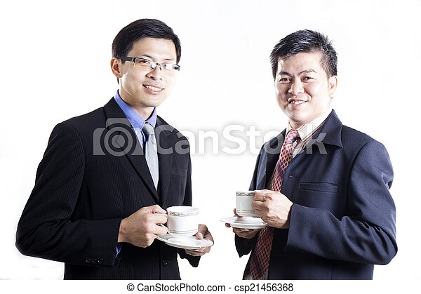 Two Businessmans talking and drink the coffee - csp21456368
