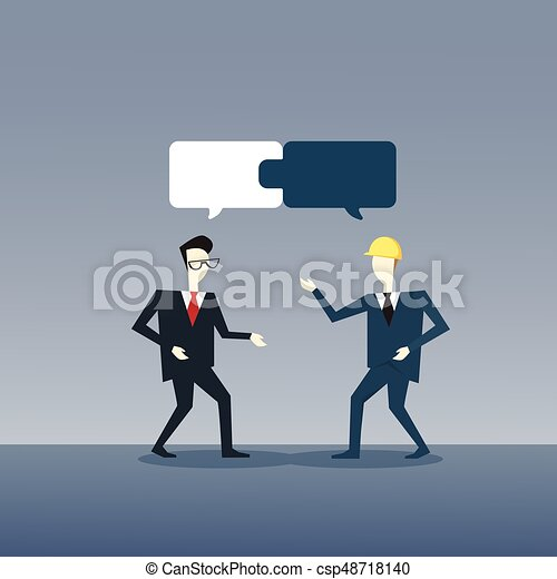 Two Businessmen Collecting Puzzle Teamwork Successful Business Team Development Growth - csp48718140