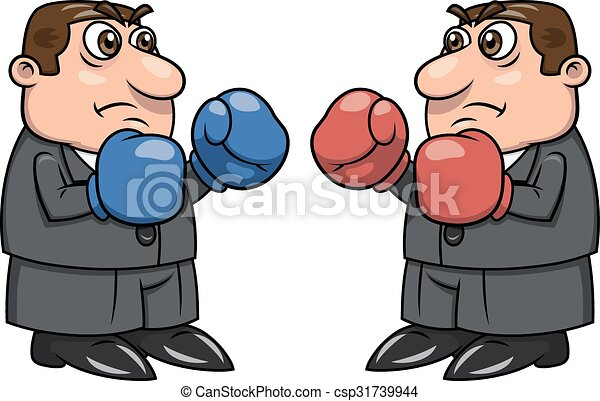Two businessmen with boxing gloves 2 - csp31739944