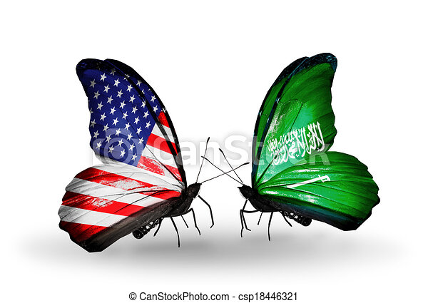 Two butterflies with flags on wings as symbol of relations USA and Saudi Arabia - csp18446321