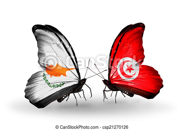 Two butterflies with flags on wings as symbol of relations Cyprus and Tunisia - csp21270126