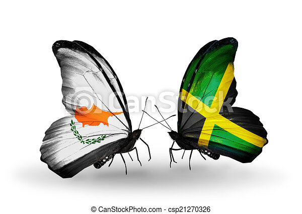 Two butterflies with flags on wings as symbol of relations Cyprus and Jamaica - csp21270326