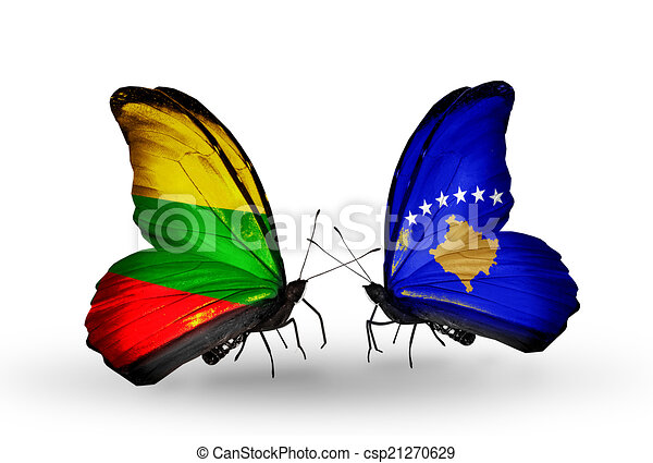 Two butterflies with flags on wings as symbol of relations Lithuania and Kosovo - csp21270629