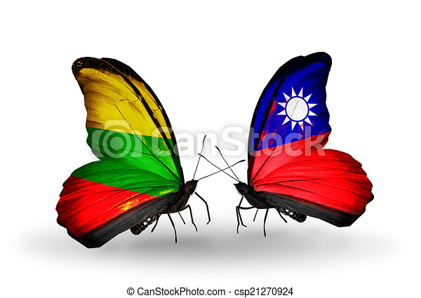 Two butterflies with flags on wings as symbol of relations Lithuania and Taiwan - csp21270924