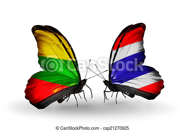 Two butterflies with flags on wings as symbol of relations Lithuania and Thailand - csp21270925