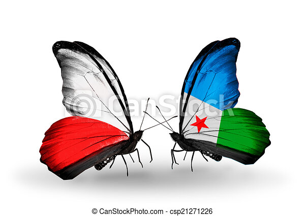 Two butterflies with flags on wings as symbol of relations Poland and Djibouti - csp21271226