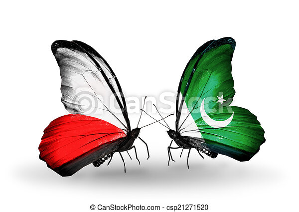 Two butterflies with flags on wings as symbol of relations Poland and Pakistan - csp21271520