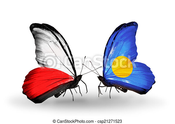 Two butterflies with flags on wings as symbol of relations Poland and Palau - csp21271523