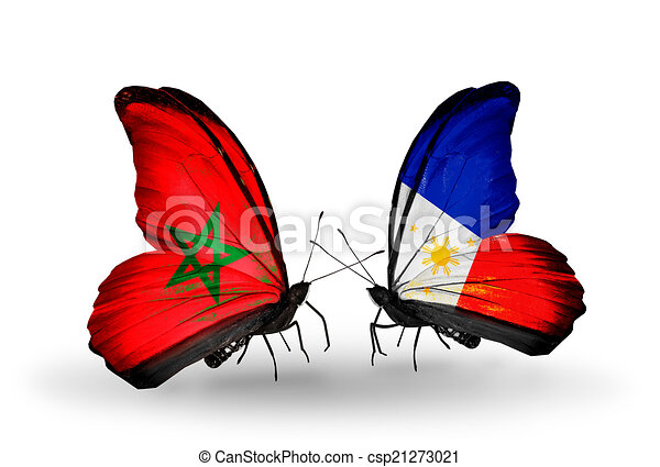 Two butterflies with flags on wings as symbol of relations Morocco and Philippines - csp21273021