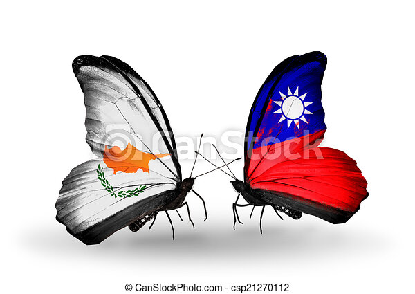 Two butterflies with flags on wings as symbol of relations Cyprus and Taiwan - csp21270112