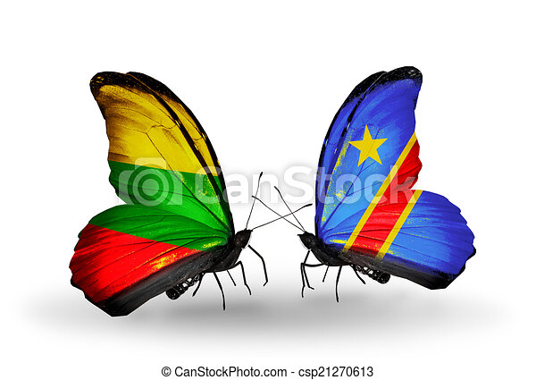 Two butterflies with flags on wings as symbol of relations Lithuania and Kongo - csp21270613