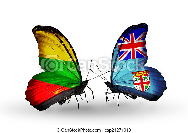 Two butterflies with flags on wings as symbol of relations Lithuania and Fiji - csp21271019