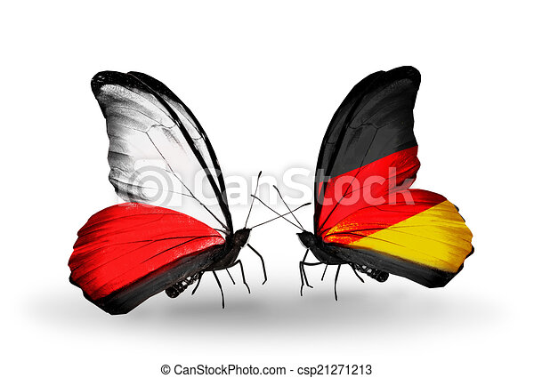 Two butterflies with flags on wings as symbol of relations Poland and Germany - csp21271213