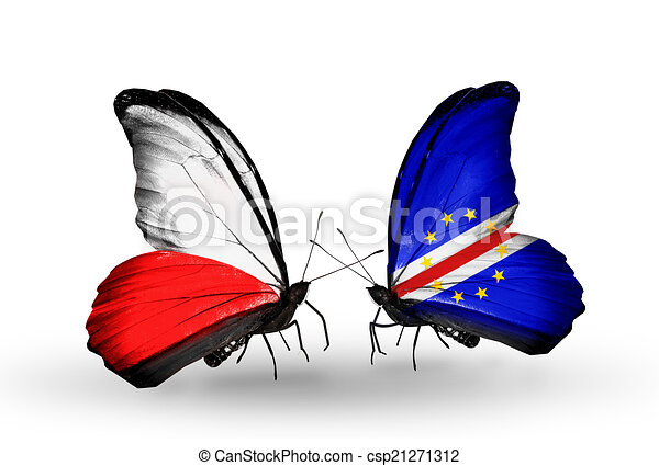 Two butterflies with flags on wings as symbol of relations Poland and Cape Verde - csp21271312