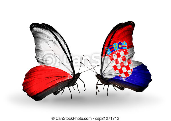 Two butterflies with flags on wings as symbol of relations Poland and Croatia - csp21271712